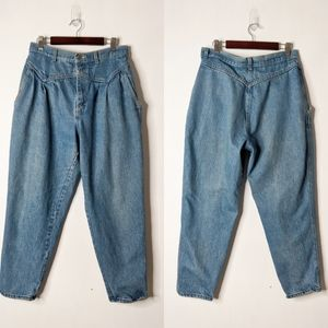Vtg 80s 90s Pleated Tapered Leg Mom Jeans